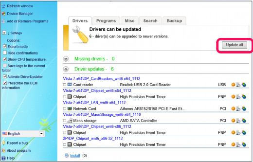 Click Update All and DriverPack solution will install new drivers and update old ones