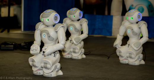 Only 58 cm. tall when standing, these surprisingly agile robots can dance, teach, listen, and speak.