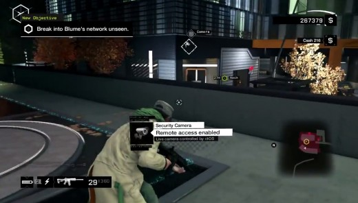Aiden infiltrates Blume HQ during The Future is in Blume mission in Watch_Dogs.
