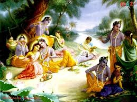 Romantic Krishna with Gopi's.