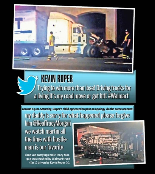 Trucker who hit Tracy Morgan has a twitter