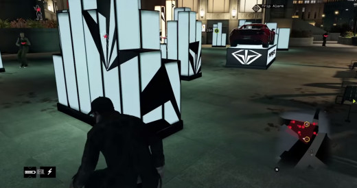 Using some funky architecture to avoid trouble, Aiden sneaks past a cluster of roaming guards in The Rat's Lair mission of Watch_Dogs.