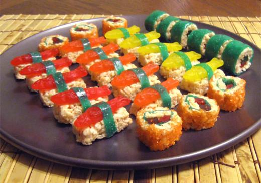 Sushi candy maki rolls and fish topped nigiri