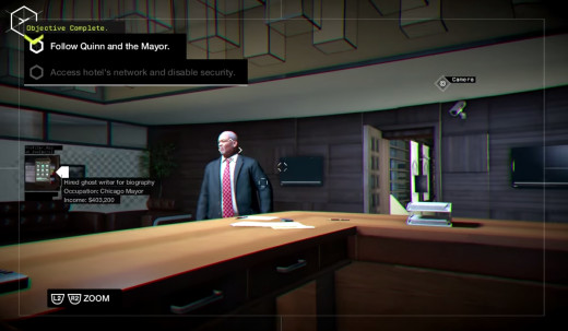 Aiden remotely gets some dirt on the mayor of Chicago during the No Turning Back mission of Watch_Dogs.
