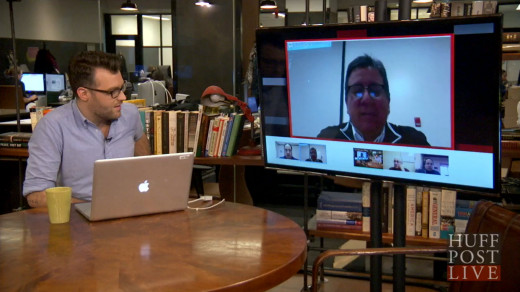 "This is what a HuffPost Live interview looks like.  See the ""regular person"" Skyping in?"
