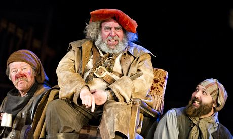 Sir Antony Sher as Sir John Falstaff, pretending to be Prince Hal's father during the funny yet sad play-within-a-play scene.
