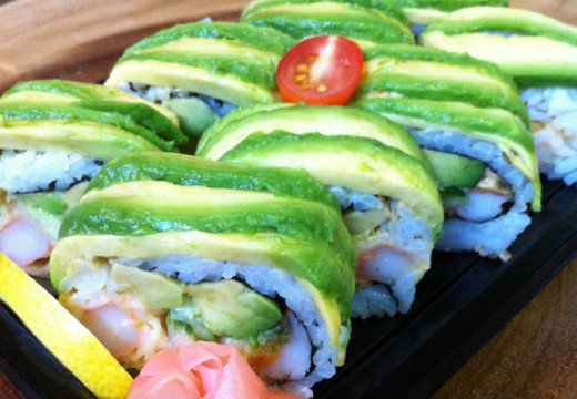 These are the california rolls they are prepared with avocado.