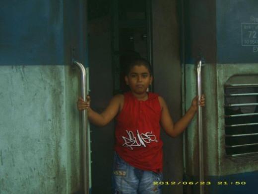 My son Atul Krishna poses for a photograph