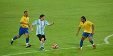 Messi playing against Brazil