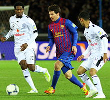 Messi in 2011 playing in the Fifa Club World Cup