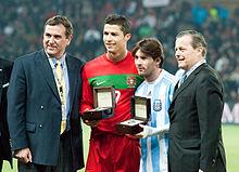Messi with Cristiano Ronaldo