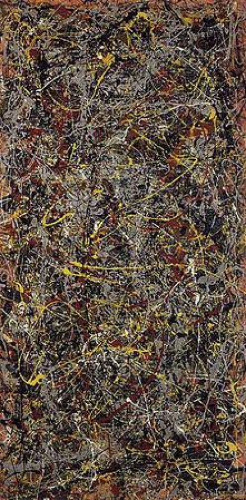 This work, by Jackson Pollock, is a typical result of his style of 'action painting.'