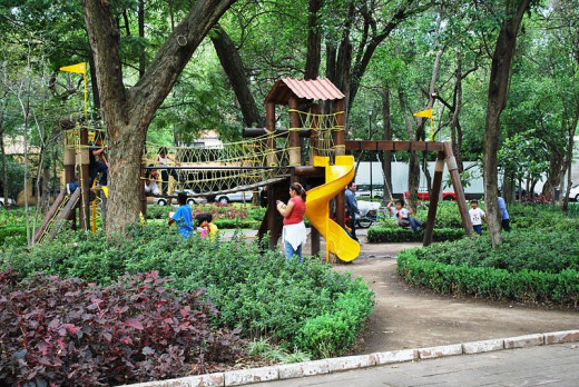 Playground in the San Angel neighborhood of Mexico City. Photo by Thelmadatter