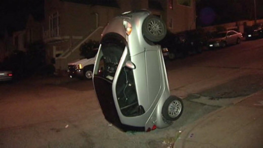 It's the new Urban Redneck sport - Smart Car tipping. Wonder where it came from?