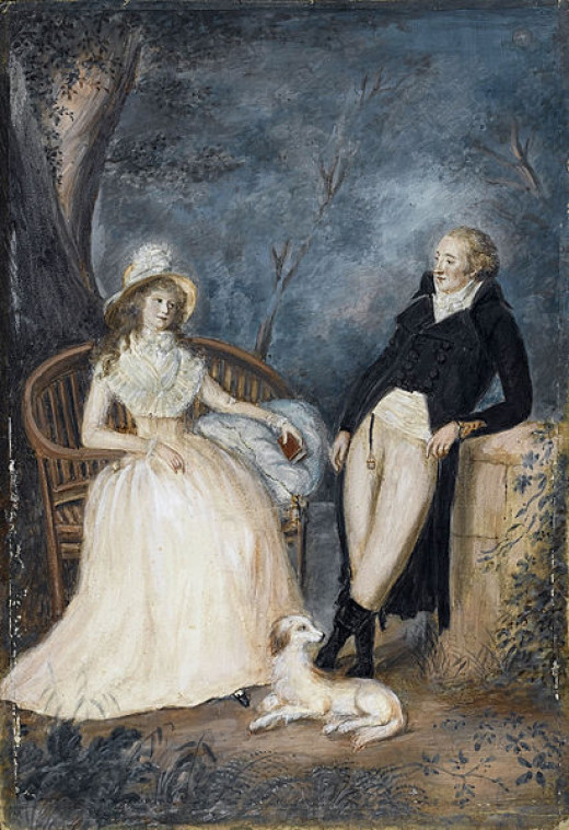 Goethe and Charlotte von Stein in conversation.  Author: Anonymous
