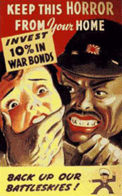 """Anti-Japanese World War Two poster depicts Japanese as if they will all defile """"our"""" women. Half-comical, half-tragic."""