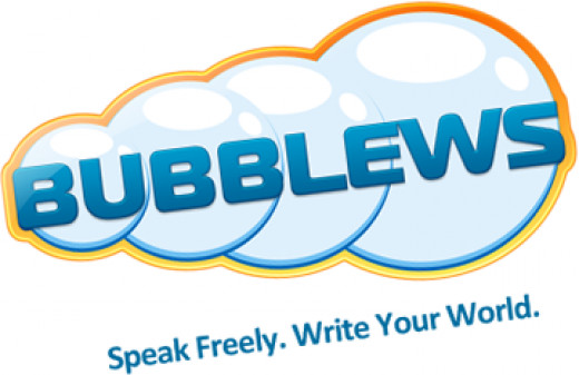 "Bubblews logo stating : ""Write your world"""