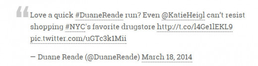 Duane Reed Pharmacy tweet about Katherine Heigl