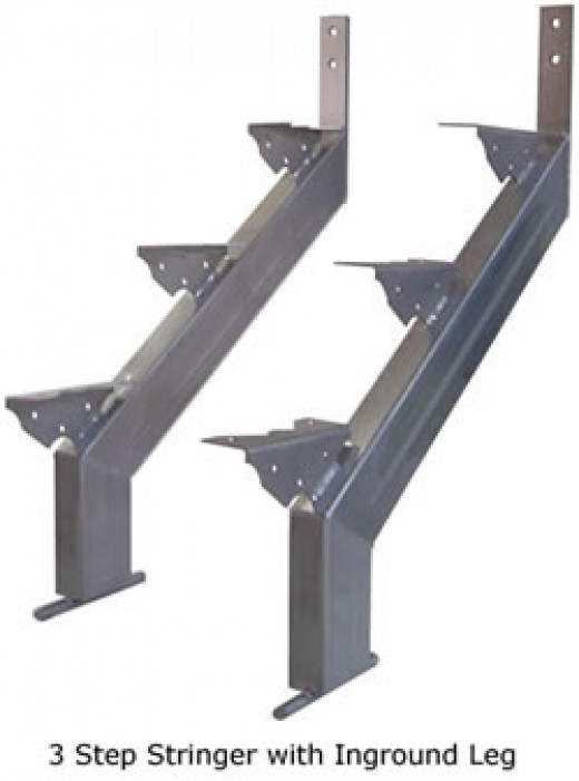 This is a typical pair of steel stringers, they come in many sizes, all you have to know is how many treads you need before you buy them. They are also available in hot dip galvanized, but they are more expensive, I believe they are worth the cost