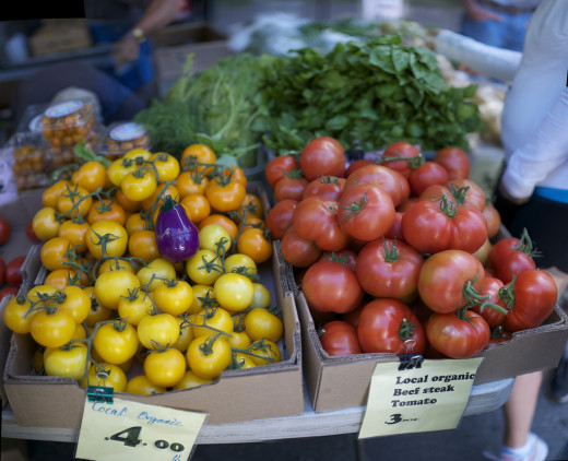 Organic tomatoes at a Farmer's Market.