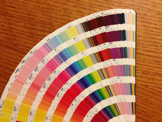 Using Pantone® Matching System (PMS) colors helps to maintain consistent branding colors across mediums. The Solid to Process guide shown here helps graphic designers blend the right mix of CMYK inks to achieve PMS Match colors.
