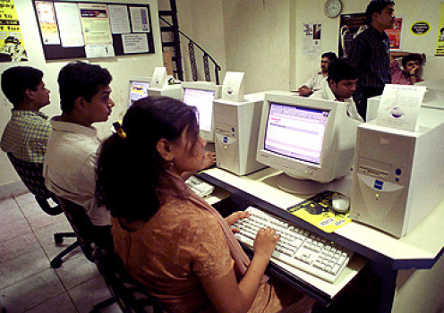 An Internet Cafe in India