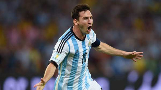 Lionel Messi celebrates his second goal in FIFA world cup 2014