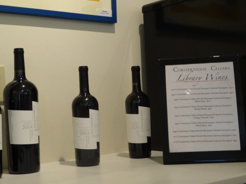 Cornerstone Cellars wines on display.
