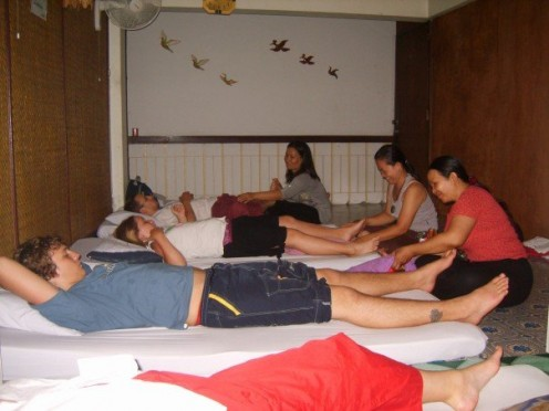 Enjoying a Thai massage