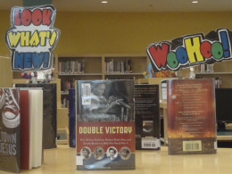 Book displays at a local high school.