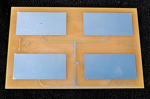 There are many different antenna designs. This is a quad patch antenna.