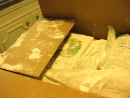 Everything in the shipping box was covered with powder from an open container.