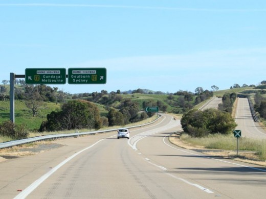 Looking roughly North-East near the Junction of the Hume and Federal Highways while driving towards Sydney from Canberra