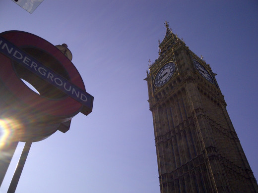 Tube stations often sit right beneth London landmarks - like the Big Ben tower at the Houses of Parliament in Westminster