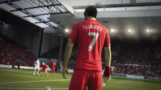 Luis Suarez stands over a freekick at Anfield in FIFA 15