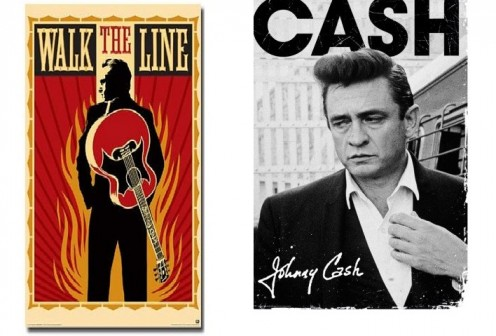 (Left) Joaquin Phoenix Right)Posters: Johnny Cash Poster - I Walk The Line, Autograph (36 x 24 inches)