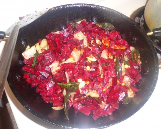 Chopped beetroot are added