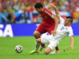 d Costa of Spain in the match against Chile.