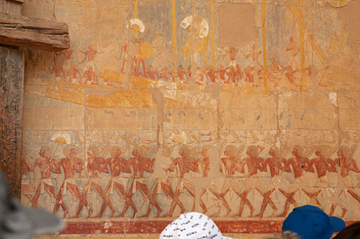 Bas-Reliefs in Temple of Hatshepsut Depicting Expedition to Punt