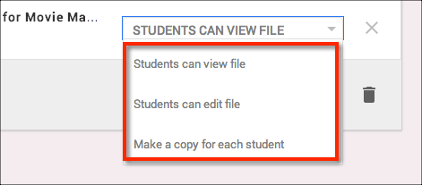 Teachers have a variety of options on how they want to share assignments from Drive