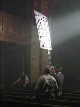 CC BY-SA 3.0 Film crew using a gobo (also known as a Cucoloris)