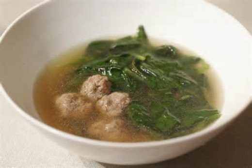 Plain bowl of wedding soup with no carrots or pastina