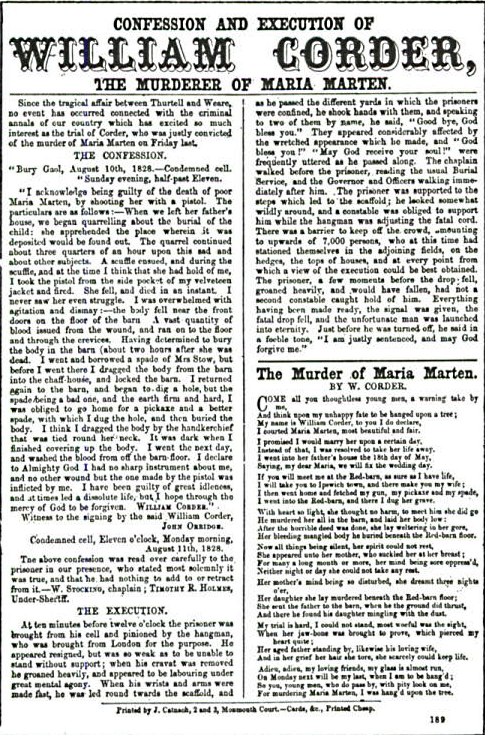 A typical nineteenth century one-page broadside