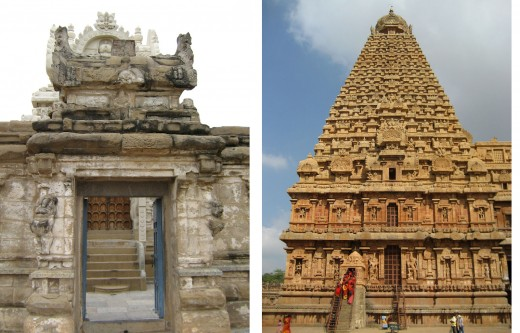 "Picture on the left shows the close-up view of the small gopuram shown in the fig.2. Picture on the right shows a huge ""Vimana"" built during 10th century AD."