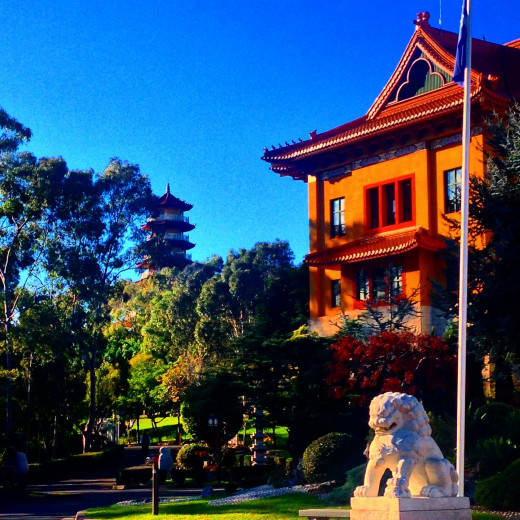 The front shrine of the Nan Tien Temple with the Pagoda in the background