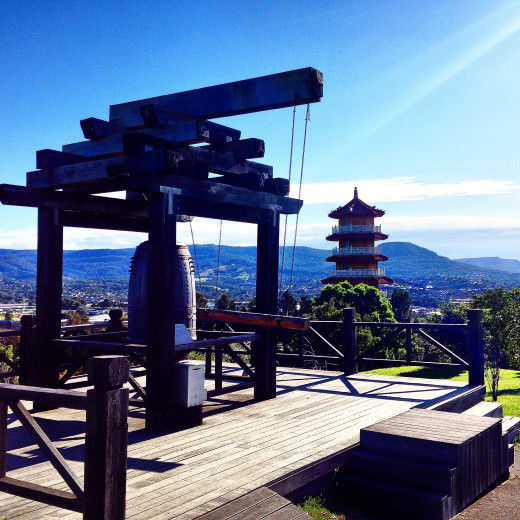 The Gratitude Bell at the highest point of the Nan Tien Temple Complex with the Pagoda in the background of this pic, looking N-NE towards Sydney.