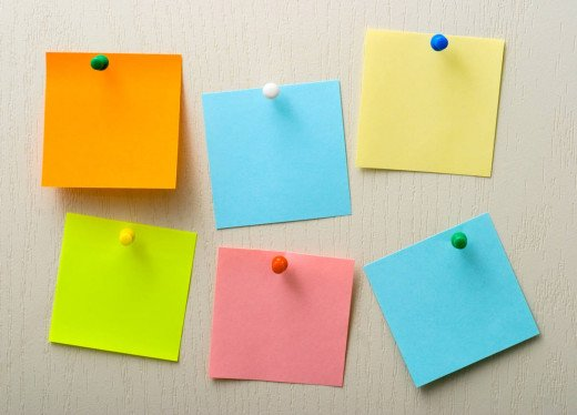 Coloured Post-It notes