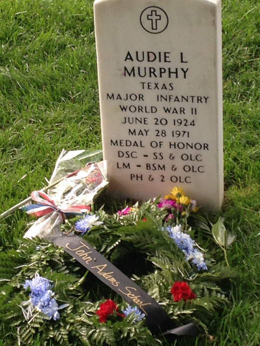 GRAVESITE OF AUDIE MURPHY, MEDAL OF HONOR RECIPIENT AND MOST DECORATED SOLDIER IN WW II.