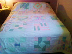 Two Quilts: Full Pastel Sampler and a Queen Nine-Patch