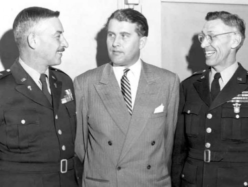 Maj. Gen. John Medaris, Wernher von Braun, and Brig. Gen. Holger Toftoy at Redstone Arsenal in 1950.